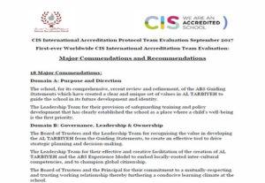Council of International Schools (CIS) Award of International Accreditation - important